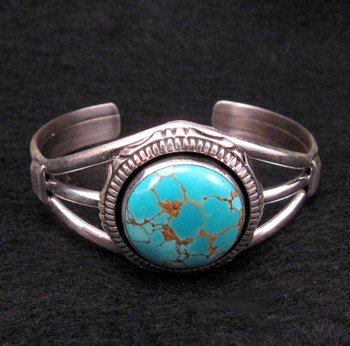 Image 1 of Navajo Native American Number 8 Turquoise Silver Bracelet
