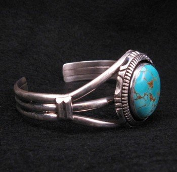 Image 2 of Navajo Native American Number 8 Turquoise Silver Bracelet