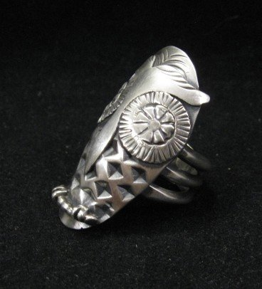 Image 1 of Big Stylized Native American Indian All-Silver Owl Ring sz 6-1/2