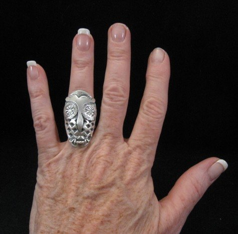 Image 2 of Big Stylized Native American Indian All-Silver Owl Ring sz 6-1/2