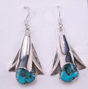 Image 0 of Native American Navajo Turquoise Squash Blossom Earrings, Frank Yazzie