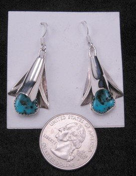 Image 1 of Native American Navajo Turquoise Squash Blossom Earrings, Frank Yazzie