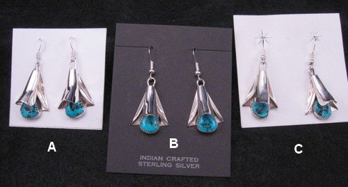 Image 2 of Native American Navajo Turquoise Squash Blossom Earrings, Frank Yazzie