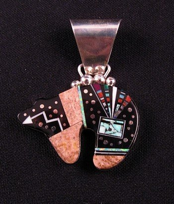 Navajo ''Starry Night'' Inlaid Bear Pendant, Ray Jack