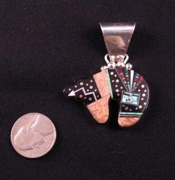 Image 1 of Navajo ''Starry Night'' Inlaid Bear Pendant, Ray Jack