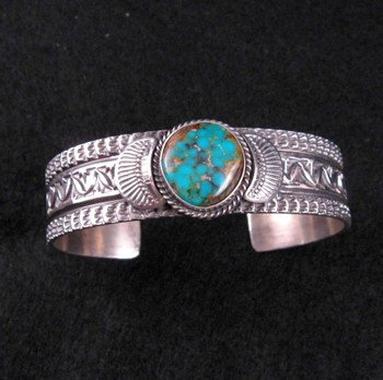 Image 0 of Navajo ~ Sunshine Reeves ~ Old Pawn Style Turquoise Cuff Bracelet