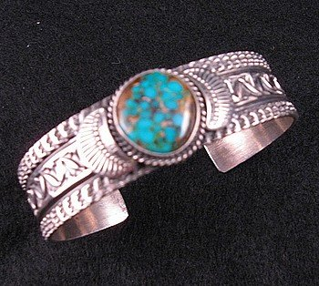 Image 1 of Navajo ~ Sunshine Reeves ~ Old Pawn Style Turquoise Cuff Bracelet