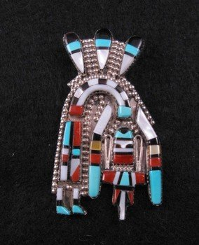 Image 0 of Inlaid Zuni Rainbow Yei Pin / Pendant, Herbert Cellicion