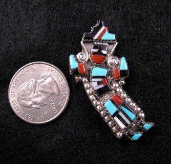 Image 0 of Small Zuni Inlaid Rainbow Man Yei Pin / Pendant, Herbert & Esther Cellicion