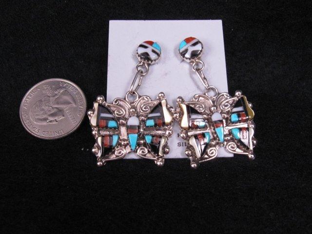 Zuni Multigem Inlaid Butterfly Earrings, Herbert Cellicion