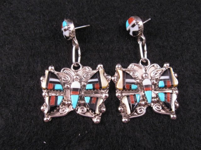 Zuni Multigem Inlaid Butterfly Earrings, Herbert Cellicion