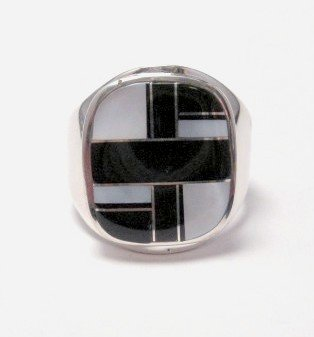 Navajo, Albert Tapaha, Black Onyx & MOP Inlay Ring Sz12