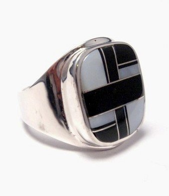 Image 1 of Navajo, Albert Tapaha, Black Onyx & MOP Inlay Ring Sz12