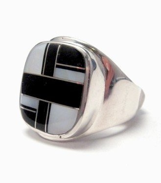 Image 2 of Navajo, Albert Tapaha, Black Onyx & MOP Inlay Ring Sz12