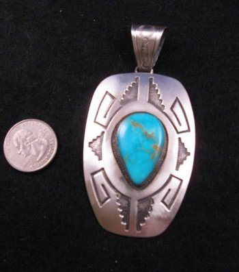 Image 1 of Old Pawn Style Navajo Silver Overlay Turquoise Pendant, Charlie Bowie