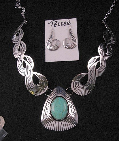 Image 0 of Everett & Mary Teller Navajo Kingman Turquoise Silver Swirl Necklace Earrings
