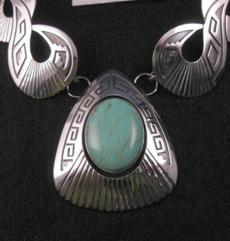 Image 1 of Everett & Mary Teller Navajo Kingman Turquoise Silver Swirl Necklace