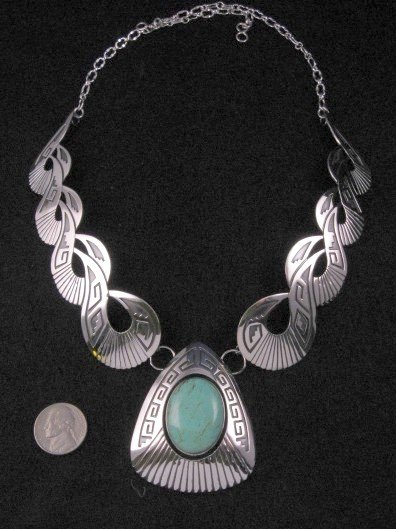 Image 2 of Everett & Mary Teller Navajo Kingman Turquoise Silver Swirl Necklace