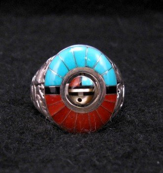 Don Dewa Zuni Inlaid Sunface Spinner Ring Sz13