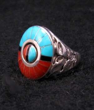 Image 1 of Don Dewa Zuni Inlaid Sunface Spinner Ring Sz13