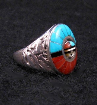 Image 2 of Don Dewa Zuni Inlaid Sunface Spinner Ring Sz13
