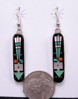 Navajo Micro-Inlay Arrow Silver Earrings, Gilbert Smith
