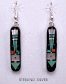 Image 1 of Navajo Micro-Inlay Arrow Silver Earrings, Gilbert Smith
