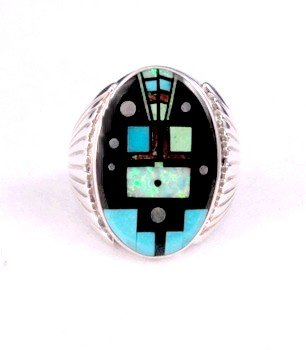 Navajo, Albert Tapaha, Starry Nite Yei Inlay Ring Sz13