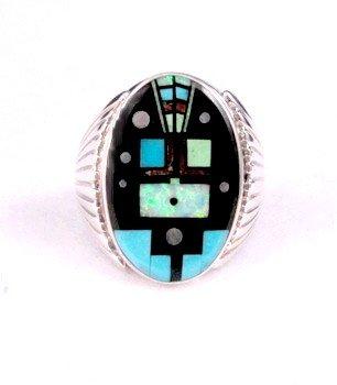 Navajo, Albert Tapaha, Starry Nite Yei Inlay Ring Sz13
