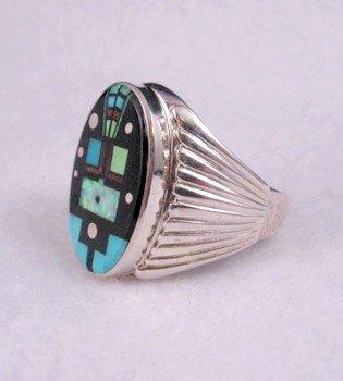 Image 1 of Navajo, Albert Tapaha, Starry Nite Yei Inlay Ring Sz13