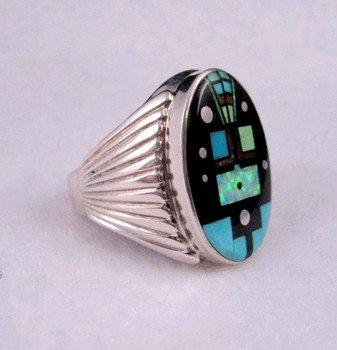 Image 2 of Navajo, Albert Tapaha, Starry Nite Yei Inlay Ring Sz13