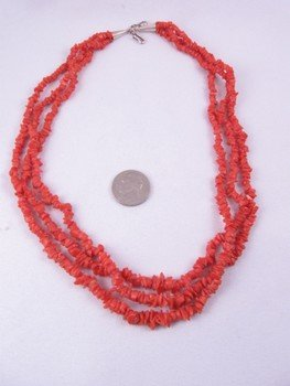 Native American Three-strand 19-inch Coral Necklace