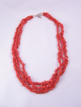 Image 1 of Three-strand 19-inch Coral Necklace