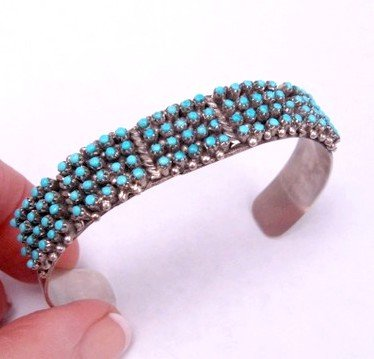 Zuni 4-Row 100 Snake Eye Turquoise Sterling Silver Bracelet, April Haloo