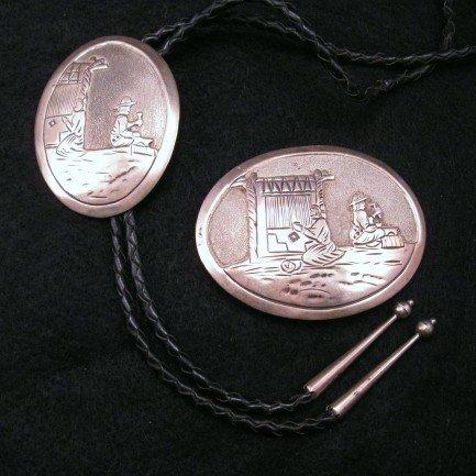 Vintage Navajo Sterling Silver Buckle & Bolo Set