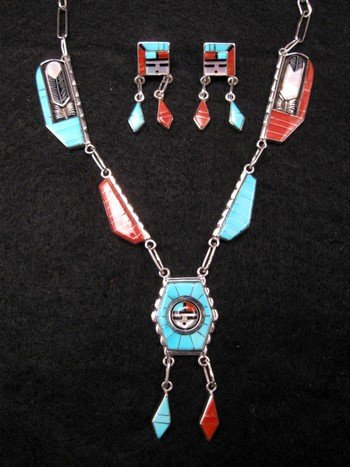 Don Dewa Zuni Inlay Spinner Sunface Necklace Earrings Set