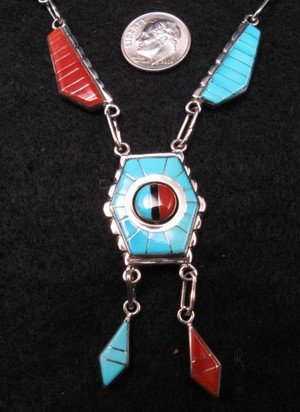 Image 1 of Don Dewa Zuni Inlay Spinner Sunface Necklace Earrings Set