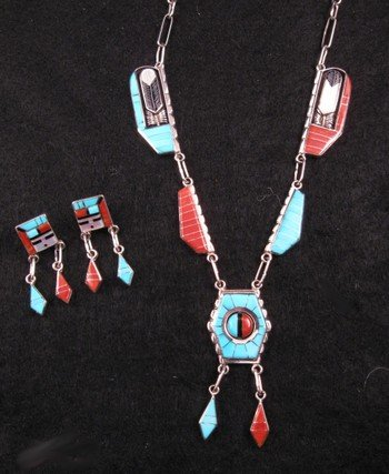 Image 2 of Don Dewa Zuni Inlay Spinner Sunface Necklace Earrings Set