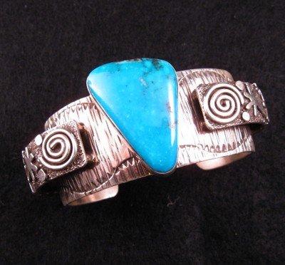 Navajo Alex Sanchez Turquoise Silver Raised Petroglyph Bracelet