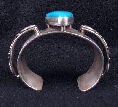 Image 2 of Navajo Alex Sanchez Turquoise Silver Raised Petroglyph Bracelet