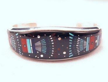 Ervin Tsosie Navajo Inlay Silver Bracelet