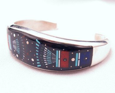 Image 1 of Erwin Tsosie Navajo Inlay Silver Bracelet