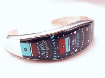 Image 2 of Ervin Tsosie Navajo Inlay Silver Bracelet