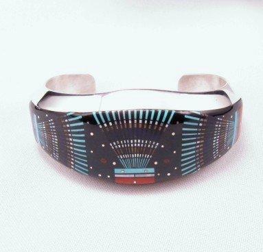 Navajo Ervin Tsosie Micro Inlay Yei Bei Chai Night Sky Bracelet