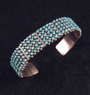 Zuni 5-Row 175 Snake Eye Turquoise Silver Cuff Bracelet, April Haloo