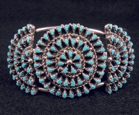 Native American ZUNI Turquoise Cluster Bracelet, Trudi Quetawki