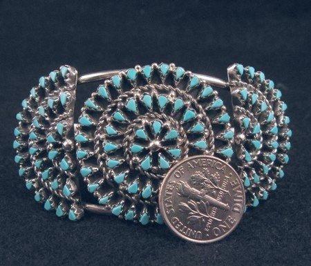 Image 2 of Native American ZUNI Turquoise Cluster Bracelet, Trudi Quetawki