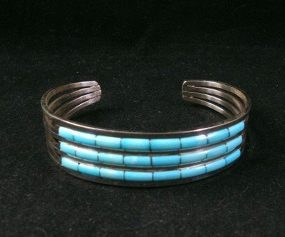 Image 0 of Zuni Jewelry Inlay Turquoise & Sterling Silver Bracelet, Anson Wallace