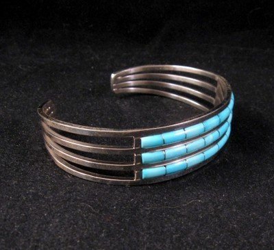 Image 1 of Zuni Jewelry Inlay Turquoise & Sterling Silver Bracelet, Anson Wallace