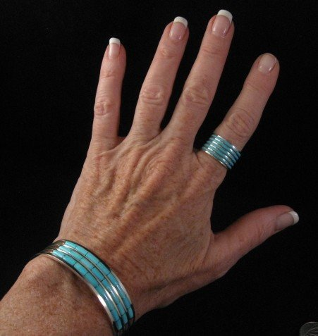 Image 2 of Zuni Jewelry Inlay Turquoise & Sterling Silver Bracelet, Anson Wallace